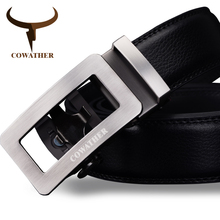 COWATHER 2017 luxury belts for men cow genuine leather male strap automatic buckle belt newest fashion design original brand(China)
