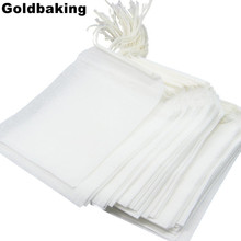 100 Pieces Disposable Filter Empty Teabags Drawstring Herb Loose Tea bag Tea Filter Bags 10*12cm(China)