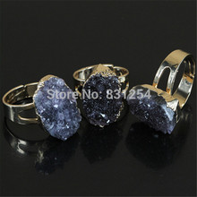 1pc Hot Natural Grey Quartz Druzy Ring Geode Crystal Drusy Stone Finger Rings Adjustable Ring Jewelry