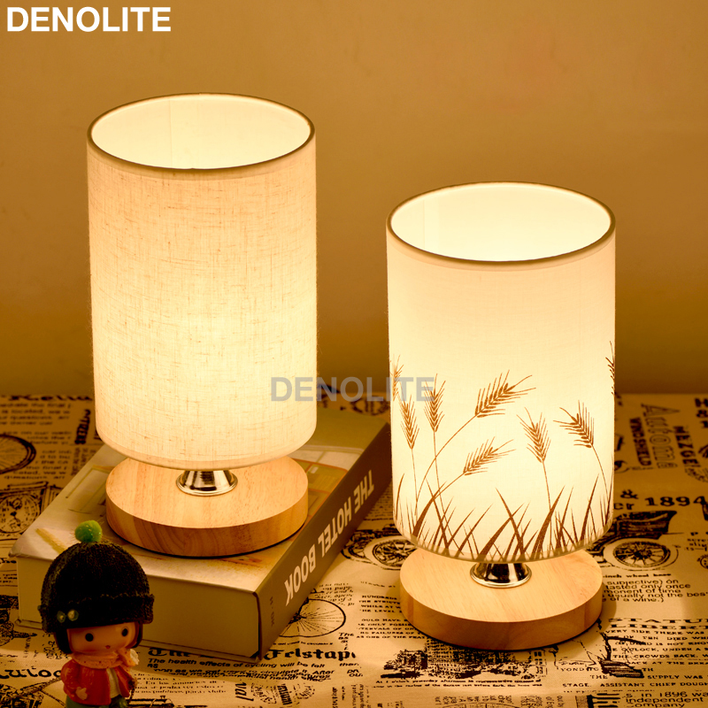 Denolite Simple Fabric Table Lamp Dimmable Linen Table Lamps Bedroom