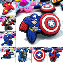 1Pcs Avengers PVC Shoe Charms Shoe Accessories Decoration,Shoe Buckles Fit Bracelets With Holes Gift,Children Party Gift(China)
