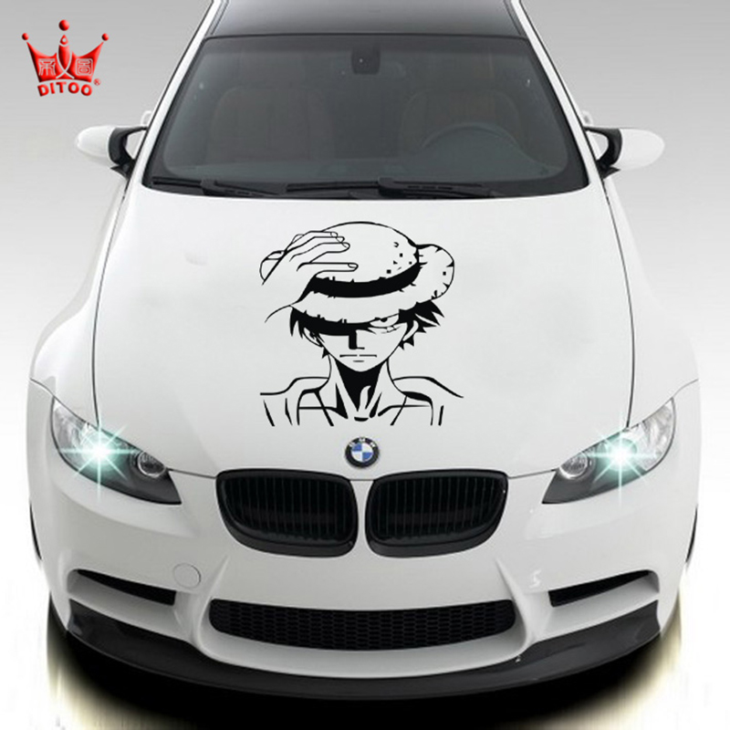 One Piece and logo decoration car styling ,die cut vinyl decals and stickers on car side door,waterproof removable film sticker<br>