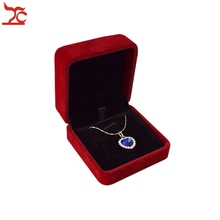 High Quality 12Pcs/Lot  Necklace Cases Display Dark Red Velvet  Pendant Boxes Earring Stud Gift Box S 7*7*4CM