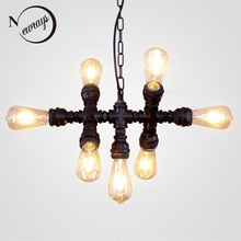 Loft industrial Iron water Pipe steam punk Vintage pendant lamp cord E27 led 7 lights pendant lights for bedroom living room bar