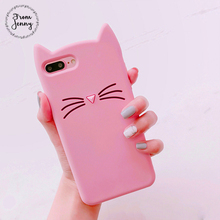 From Jenny Cute Japan 3d Kitty Cat phone Case For Apple iPhone 6 6s 6plus 6splus 7 7plus 7+ 8 8plus Casing Back Cover(China)