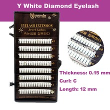 Free Shipping Best Quality Diamond Eyelash Extension New Professional Y Eyelash Extension With White Diamond 12mm length(China)
