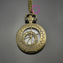 wholesale low price good quality retro vintage bronze women lady girl classic astronomy gift quartz pocket watch chain