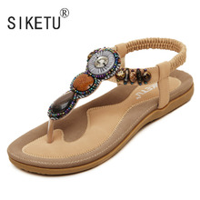 2017 New Korean Comfortable Women Sandals Bohemian String Bead Clip Toe Flat Shoes Sandals Shoes 35-42 SIKETU Brand