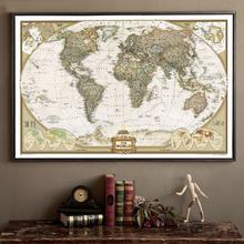 Creative Wall Sticker 1Pcs Vintage Retro paper World Map Antique Poster Wall Sticker Home Decora 69*51.5cm Free Shopping