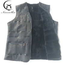 2017 New fashion,tank top men,real sheepskin vest,leather vest,men's suit,leather jacket,thickening,inch to be customized(China)