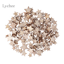 100 Pieces/Lot Blank Unfinished Wooden Star Handmade Crafts Supplies Laser Cut Rustic Wood Wedding Rings Ornaments Mixed Size(China)