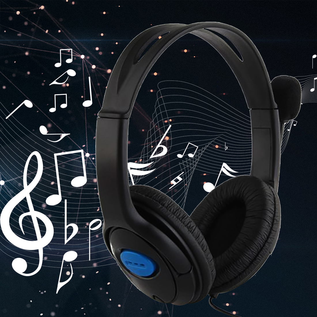 dual big ear Wired Gaming Chat Headset Headphone Microphone for Sony Playstation 4 PS4 Black<br><br>Aliexpress