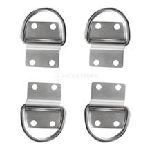 4Pcs 316 Stainless Steel Lashing Strap D Ring Staple Cleat Tie Down for Load Securing Anchor Point Trailer Van Truck Boat Rope(China)
