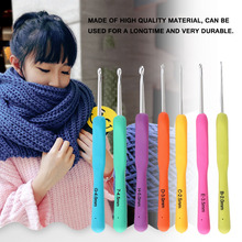 Hook C 7 Pcs/ 1 Set Stainless Steel Crochet Hooks Knit Needles Weave Craft Knitting Needle Set DIY Tools with Transparent Bag