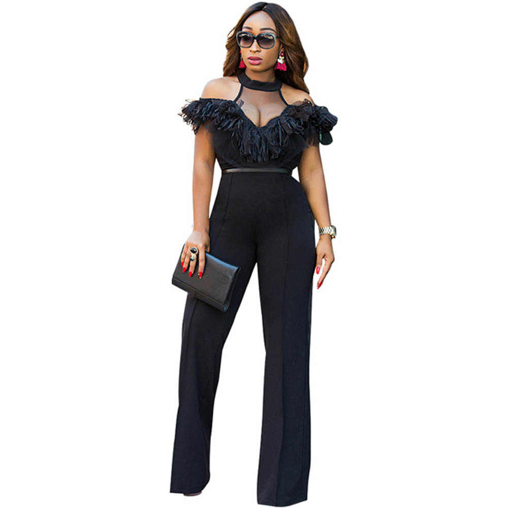 bc0ef530848 Wide Leg Jumpsuits Halter Off Shoulder Elegant Lace Ruffles Jumpsuit  Backless Hollow Out Sexy Rompers Womens