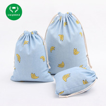 LKQBBSZ Cute Drawstring Storage Bag Linen & Cotton Banana Printed Storage Bag for Clothing Snack Sundries Toys Home Decor