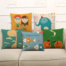 High Quality Pillow Covers Childhood Memory Cartoon Pattern 45X45CM Linen Pillow Cover Home Sofa Chair Waist Back Seat