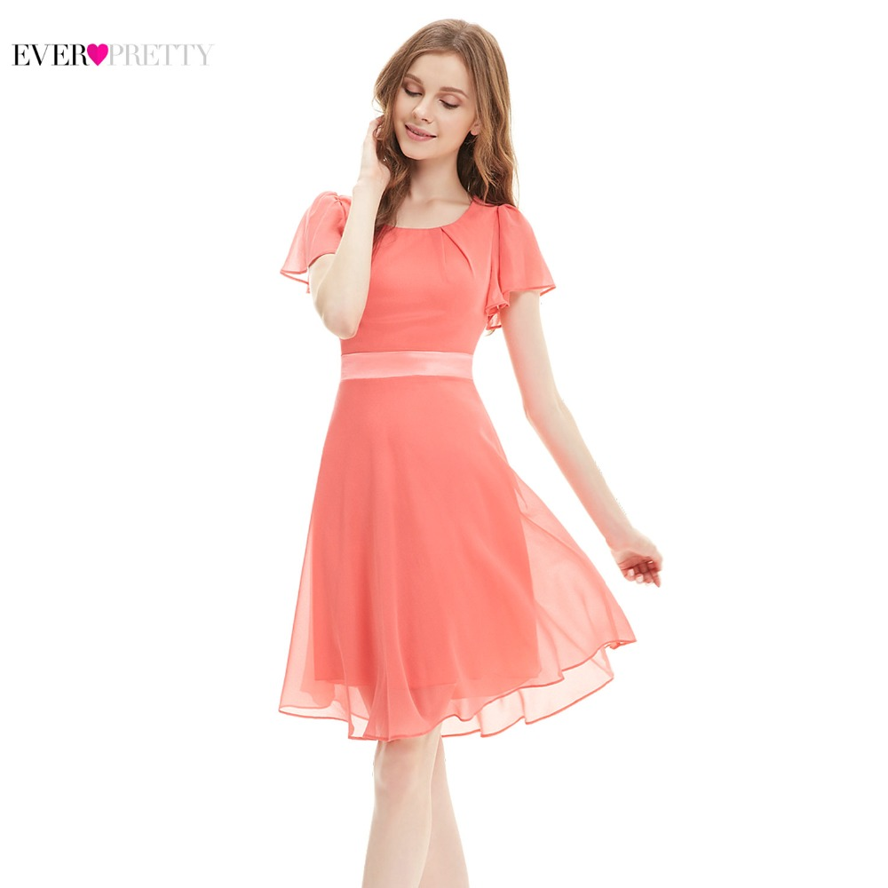 3bbb08cb32 Ever Pretty Modern Cocktail Dresses Women Coral Chiffon A-line Short Sleeve  Mini Elegant Short Occasion Party Dresses AS03990CO