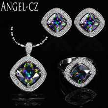 ANGELCZ Amazing Imitation Gemstone Pendant Necklace Earrings Ring Set For Women Fashion 925 Sterling Silver Jewelry Sets AJ014(China)
