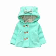 BibiCola Baby Girls Jacket Coat Autumn 2017 Kid Windproof Warm Hooded Jacket Toddler Girl Clothing Children Cute Outwear Coat(China)