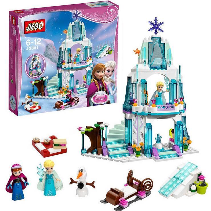 SY373 Dream Princess Elsas Ice Castle Princess Anna Olaf Set Model Building Blocks Gifts Toys  Friends<br><br>Aliexpress