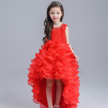 Latest Red Tailed Children Dress Princess Short Front Long Back Wedding Flower Girl Vestidos Party 2017 Girls Clothes AKF164042(China)