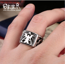 Beier new store 316L Stainless Steel ring  High Quality Starcraft Human Logo Movie Jewelry Wholesale Cheap LLBR8-129R