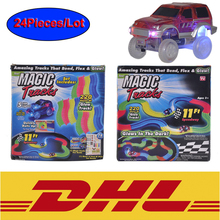 24Pcs/Lot Race Track Magic Tracks Bend Flex With Led Car Glow in the Dark 165/220Pcs Assembly Toys Kids DIY train for Christmas