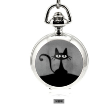 Fashion Design Quartz 3.5cm Mini Cat Pendant Enamel White Steel Mirrored Pendant Necklace Pocket Watch