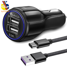 XINNIER Car Charger 5V3A Quick Charge 3.0 Car-Charger with USB Type C Type-C cable Fast Dual USB Port Mobile Phone Car Charger