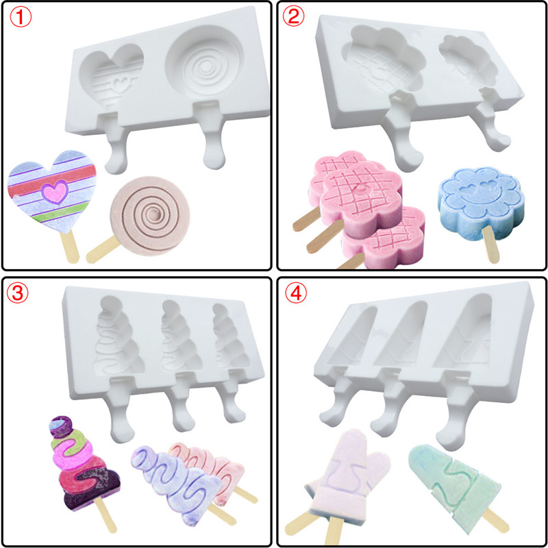 Ice Cream Tools 2 even 3 home ice cream mousse ice cream silicone mold popsicle popsicle silicone mold 2019 summer 9 shape AprO1 (3)