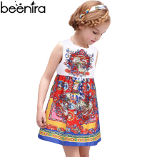 BEENIRA New Summer Girls Princess Dress Kids cotton Retro Knight Print Vest a Line High Quality Clothing for wedding