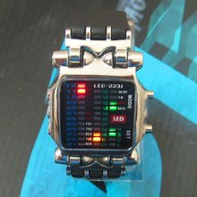 New LED Light Fashion Dot Matrix Digital Mens WATCH NR freeship(China)