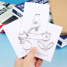 5PCS/lot Animals Modeling Paper Clips Cat Rose Metal Silver Paper Clips Animals Kawaii Styles Bookmark Office Stationery