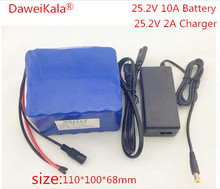 DaweiKala 6S5P 24V 10Ah 18650 lithium battery pack 25.2v Electric Bicycle moped /electric/lithium ion battery pack+2A charger(China)