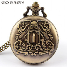 Free shipping Vintage Antique Bronze Bullet Mens Pocket Watch Pendant Necklace Mens Gift P89