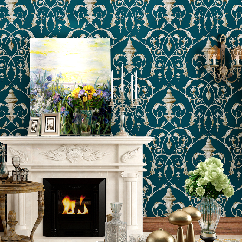 American Wallpaper Flowers Vintage Pure Decor Wallpapers Non-woven Floral 3D Fashion Embossed TV Background Wallpaper for Walls<br>