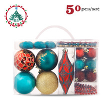 inhoo 2017 Christmas Ornament Tree Decoration Ball 50PCS Pendant Accessories Bead string Red Ball For Christmas Home Party gift(China)
