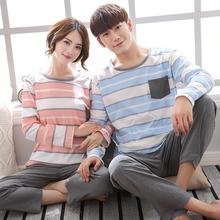 New Lovers' Pajamas Long Sleeves Pure Cotton Stripes Men's And Women's Wear Casual Home Wear Suits 3112(China)