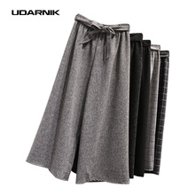 Fashion Ladies Palazzo Pants Trousers Cotton Linen Wide Leg Ankle Length Check Stripe Casual Loose 907-686