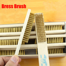 brass brush, high-grade wooden handle brass brush, metal surface cleaning brush to remove paint, rust removal(China)