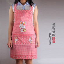 Cute Cartoon Rabbit Waterproof Sleeveless Halter Pocket Antifouling Oil Aprons Kitchen Accessories 7ZA005