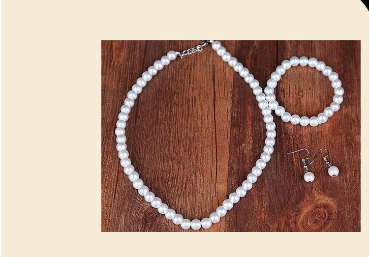 Faux Pearl Crystal Choker Necklace Earring Bracelet Jewelry Set (White) (6)