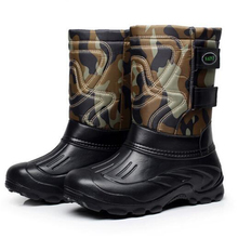 Brand Men Waterproof Fishing Boots Mid-Calf Plus Velvet Snow Boots Warm Men Skiing Boots Casual Camo Army Boots Men Shoes 41-46