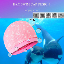 2017 New Children Lace Up Plaid Swimming Caps Kid's Girls Floral Sweet Cute Swim Caps Breathable Swim Cap Children Bathing Hat
