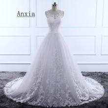 Buy Vestido de noiva Anxia High White Lace Tulle Wedding Dress 2018 Illusion Back Wedding Gowns Plus Size Custommade Size for $176.29 in AliExpress store