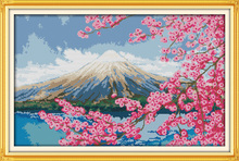 Mount Fuji cross stitch kit spring season Japan Aida count 18ct 14ct 11ct print embroidery DIY handmade needlework supplies bag(China)