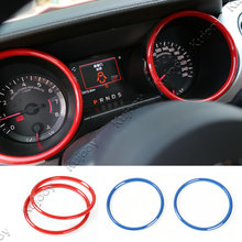2X Red/Blue/Chrome ABS Car Instrument Panel Dashboard Decoration Ring Cover Frame Sticker Frame For Ford Mustang 2015 2016