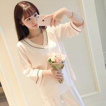 South Korea Spring V Collar Sexy Simple Seven Points Sleeve Family Clothes Womens New Silk Like Pajamas On Behalf Of A Generat(China)