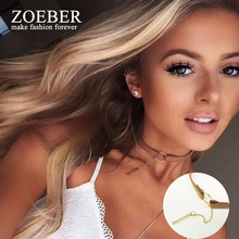 ZOEBER Black Brown Circle Velvet Choker necklace Gothic Women Fashion Collar geometry femme Anime collier Necklaces Jewelry(China)